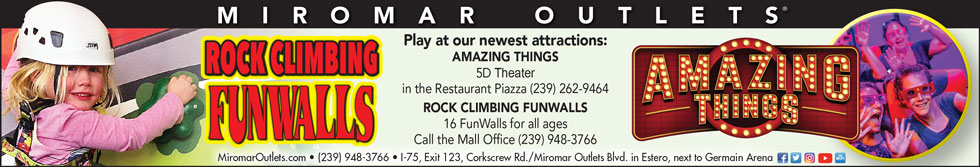 Rock Climbing FunWalls and Amazing Things 5D Theater at Miromar Outlets